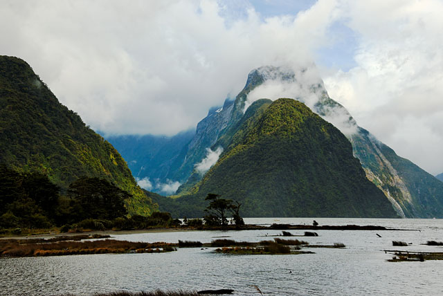 Mitre Peak in clouds at Milford Sound