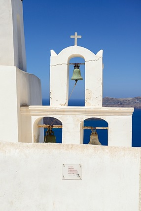 Bell tower in Fira, Santorini, Greece