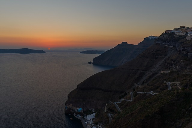 Sunset at Fira, Santorini, Greece