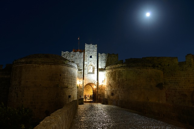 Wall around medieval city of Rhodes, Greece
