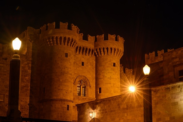 Palace of the Grand Master of the Knights of Rhodes at night, Greece