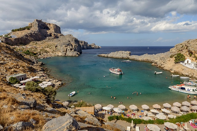 Acropolis of Lindos from St Paul's Bay