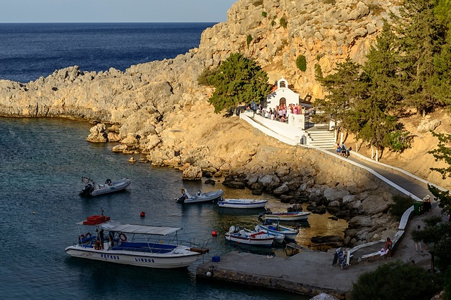 Wedding at church in St Paul's Bay, Lindos