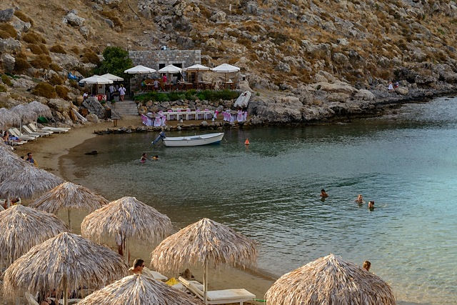 taverna at St Paul's Bay, Lindos
