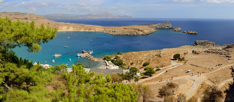 Panorama of Main Lindos Bay