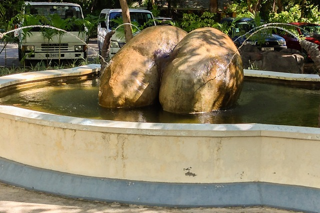 Coco de Mer nut fountain at Praslin Airport