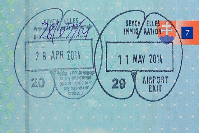 Seychelles immigration stamp