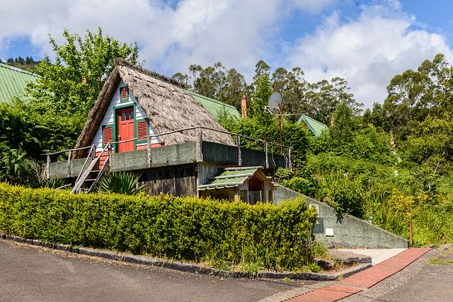 house with thatched roof at Rancho Madeirense, Madeira
