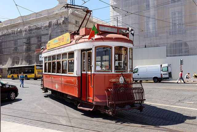 historic tram at Praça do Comércio, Lisbon, Portugal