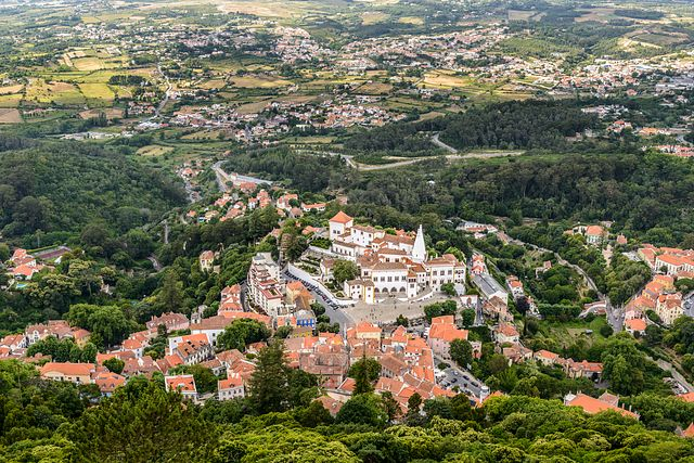 view of Sintra from Moorish castle, Portugal