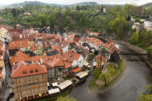 view from tower in Český Krumlov castle, Czech Republic