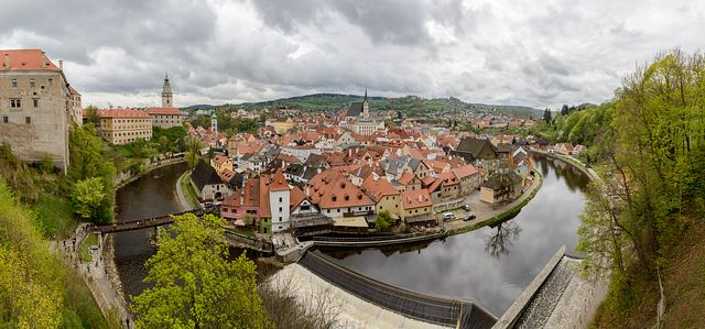 panorama of Český Krumlov from castle, Czech Republic
