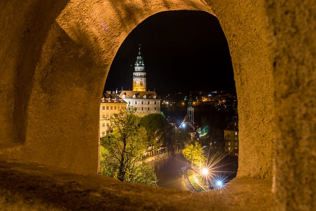 View of tower from Český Krumlov castle - at night