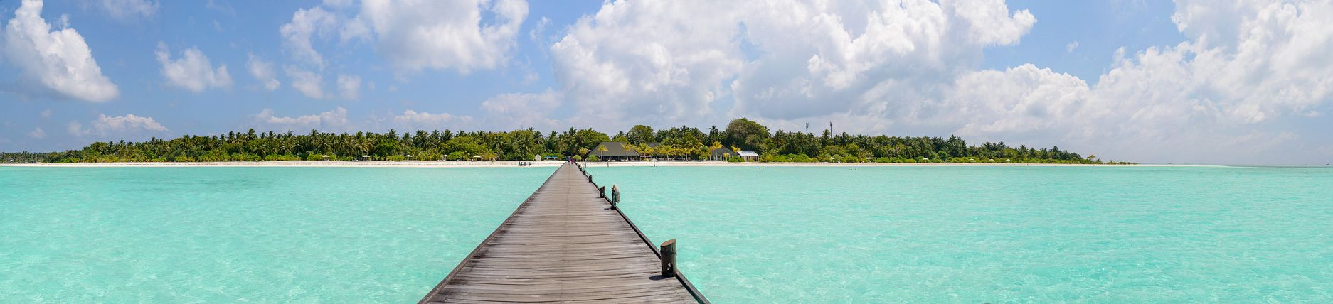 Panorama of Holiday Island from jetty, Maldives