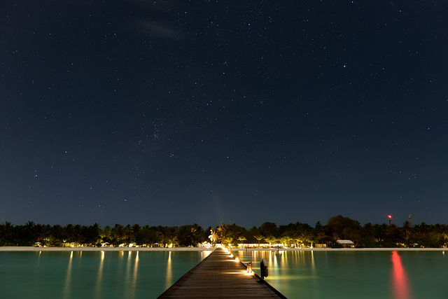 Starry night from jetty, Holiday Island, Maldives